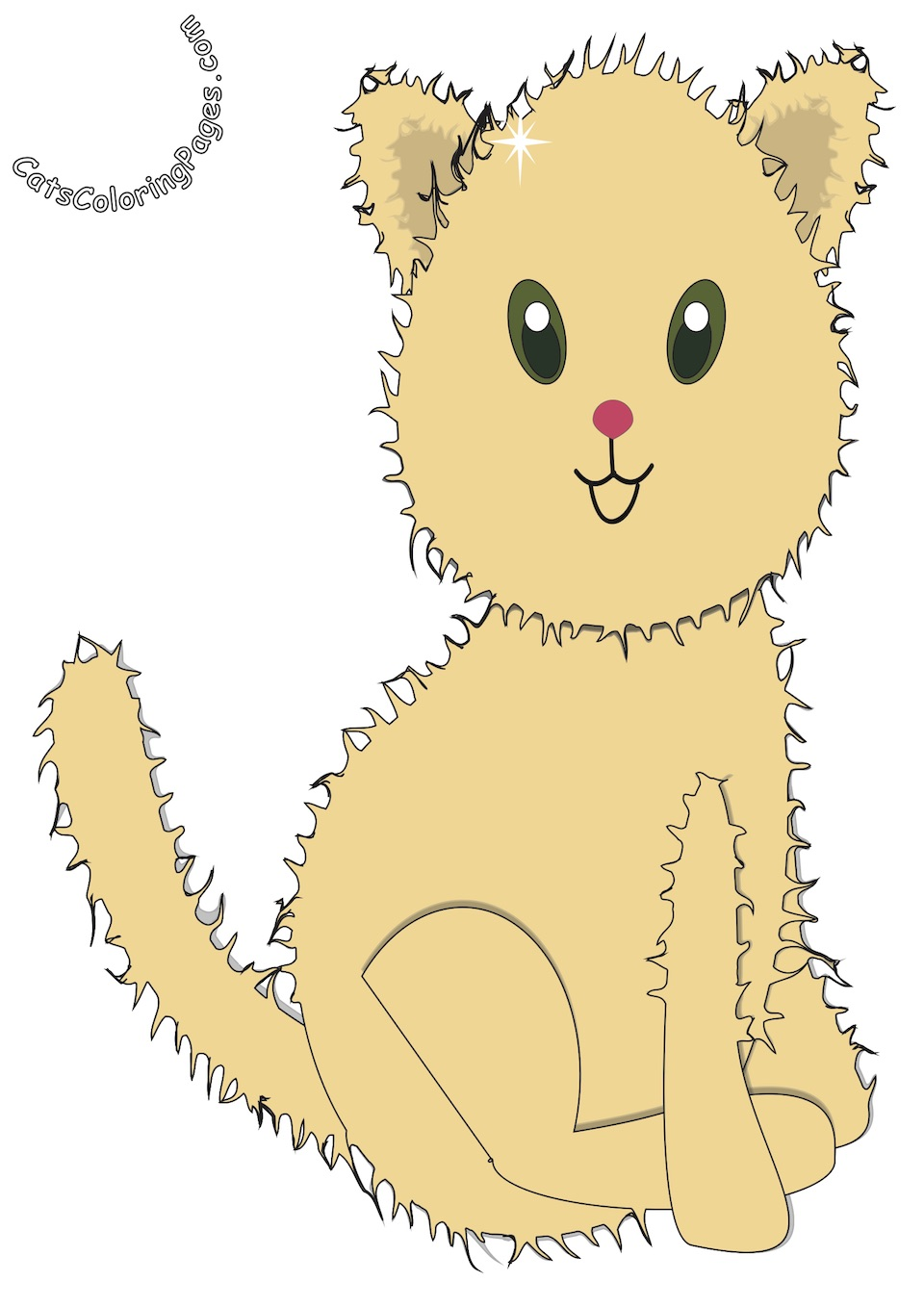 Fluffy Happy Kitten Colored Coloring Page