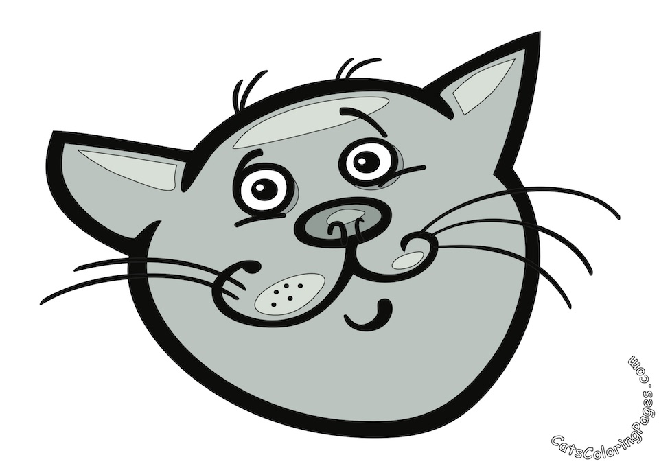 Big Eyed Tomcat Colored Coloring Page