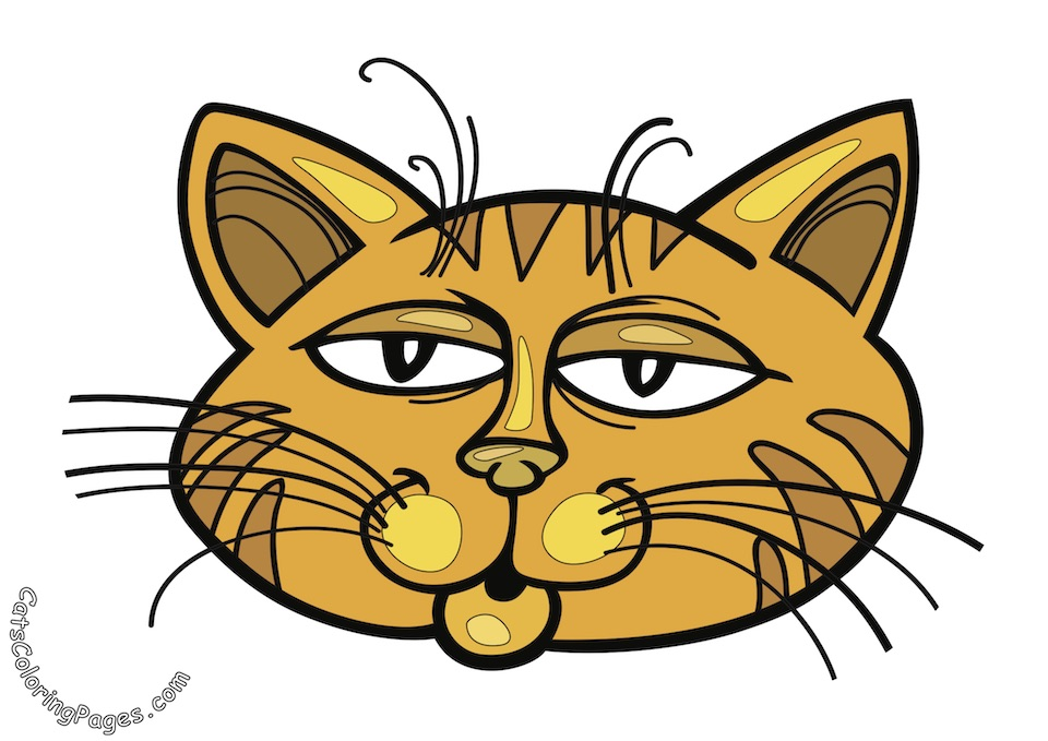 Orange Sleepy Cat Colored Coloring Page