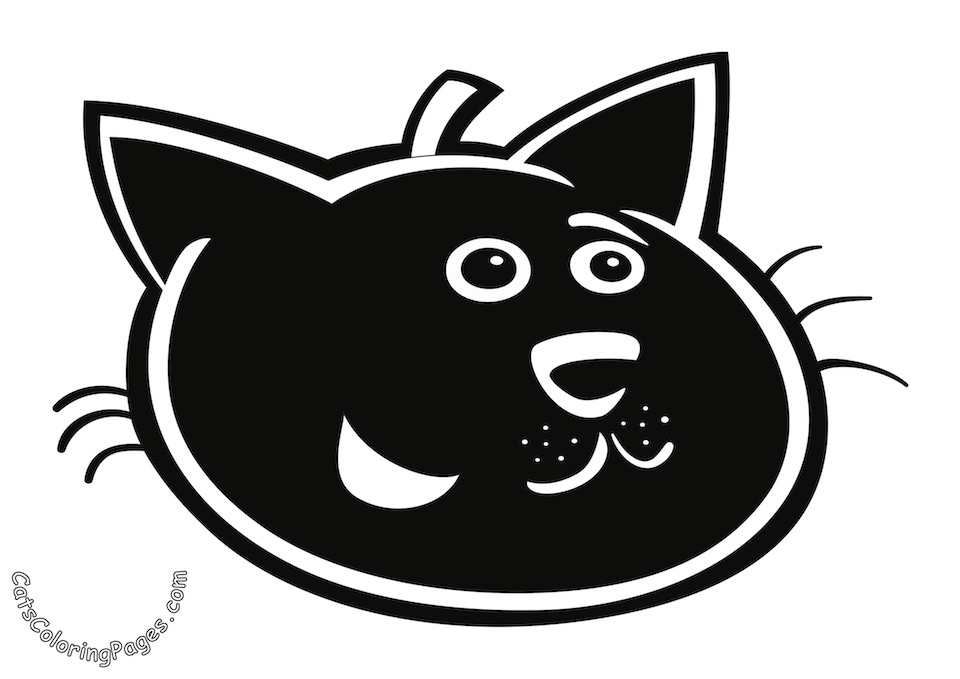 Happy Black Tomcat Colored Coloring Page