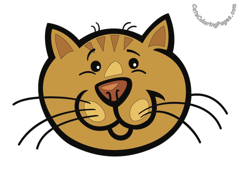Surprised Orange Cat Colored Coloring Page