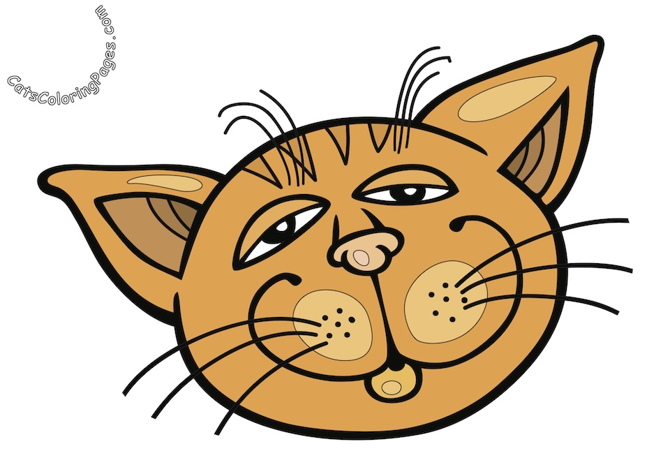 Orange Sleepy Tomcat Colored Coloring Page