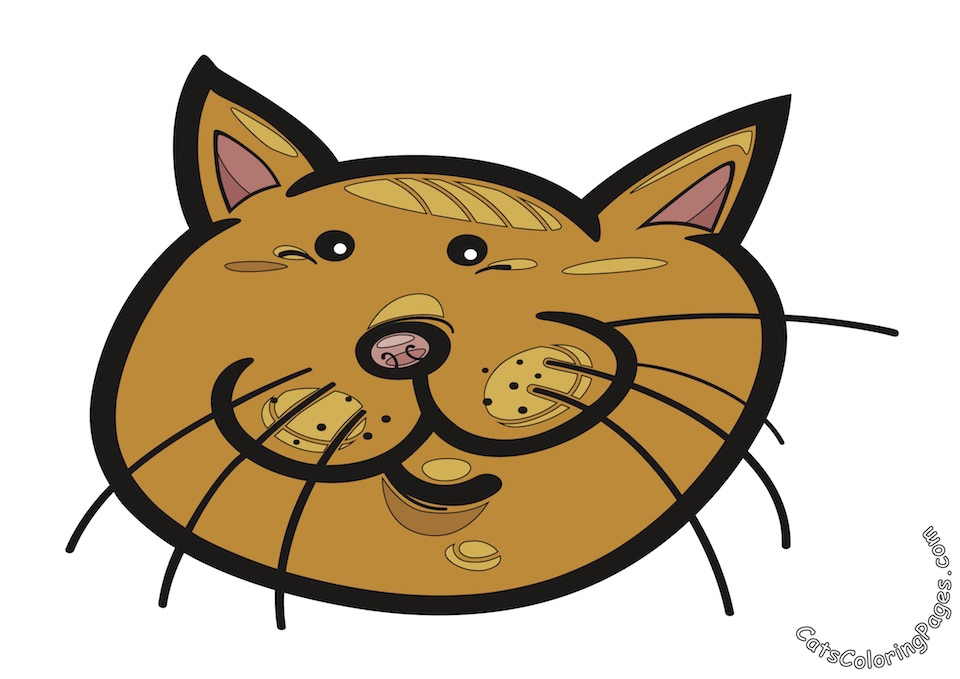 Small Eyed Tomcat Colored Coloring Page