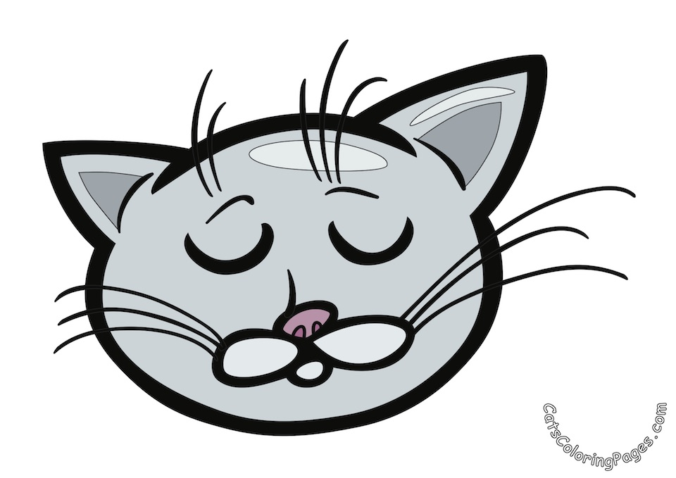 Cat Dreaming Colored Coloring Page