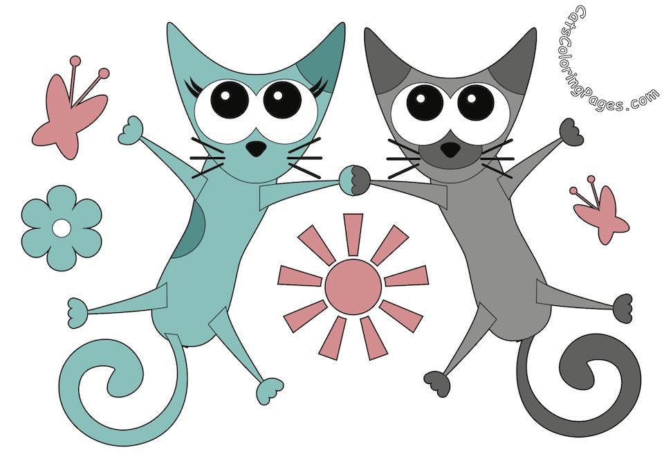 Two Cats Holding Hands Colored Coloring Page
