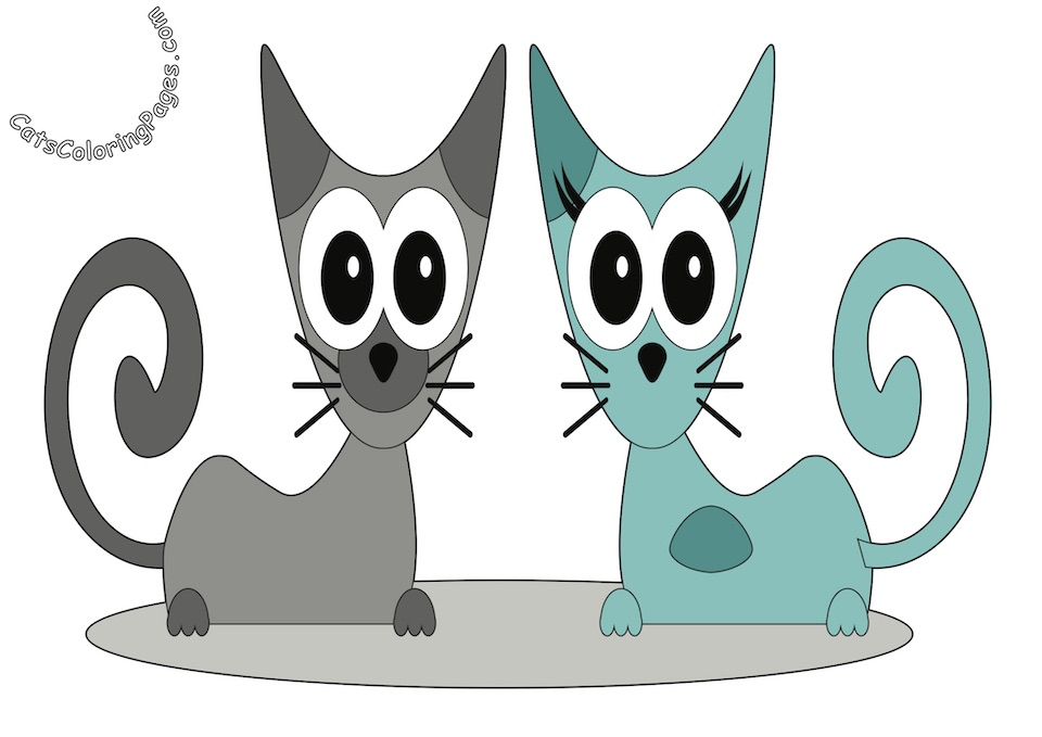Two Cats Smiling Colored Coloring Page