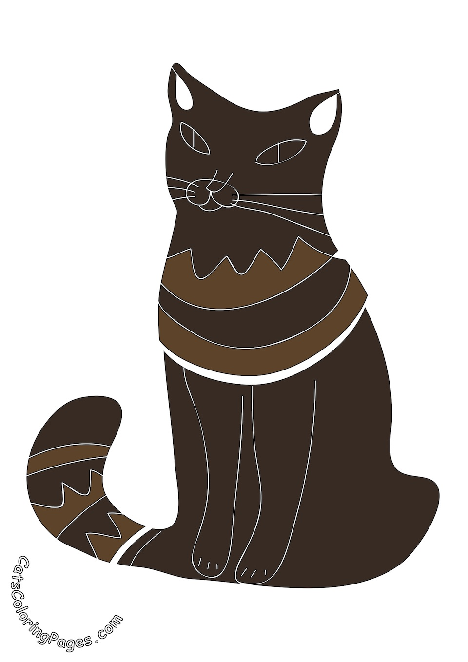 Cat Waiting for Food Colored Coloring Page