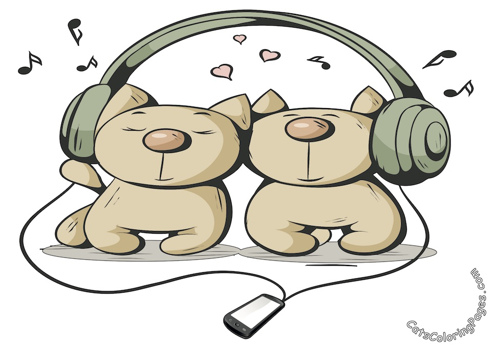 Kittens Listening to Music Colored Coloring Page