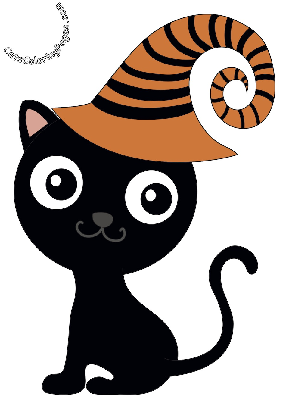 Halloween Kitten Card Colored Coloring Page