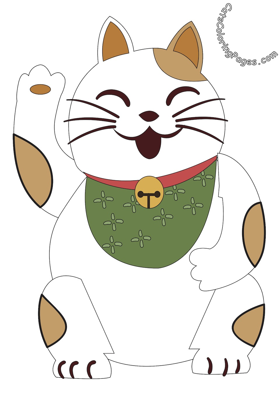 Laughing Japanese Cat Colored Coloring Page