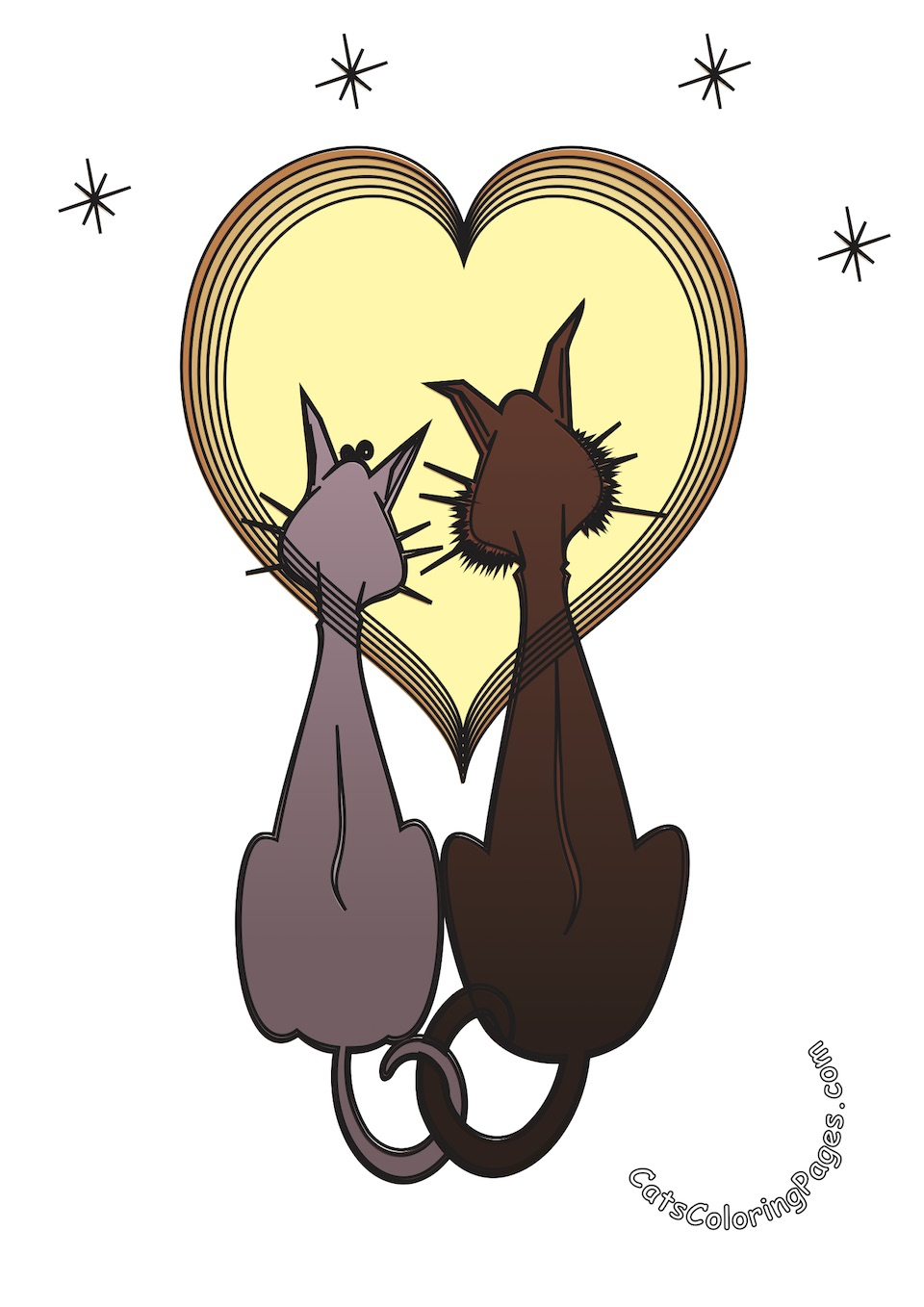 Two Cats in Love Colored Coloring Page