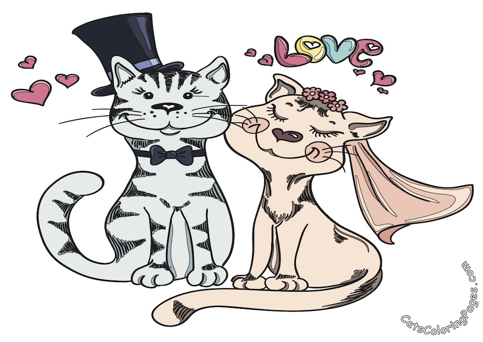 Married Cats Colored Coloring Page