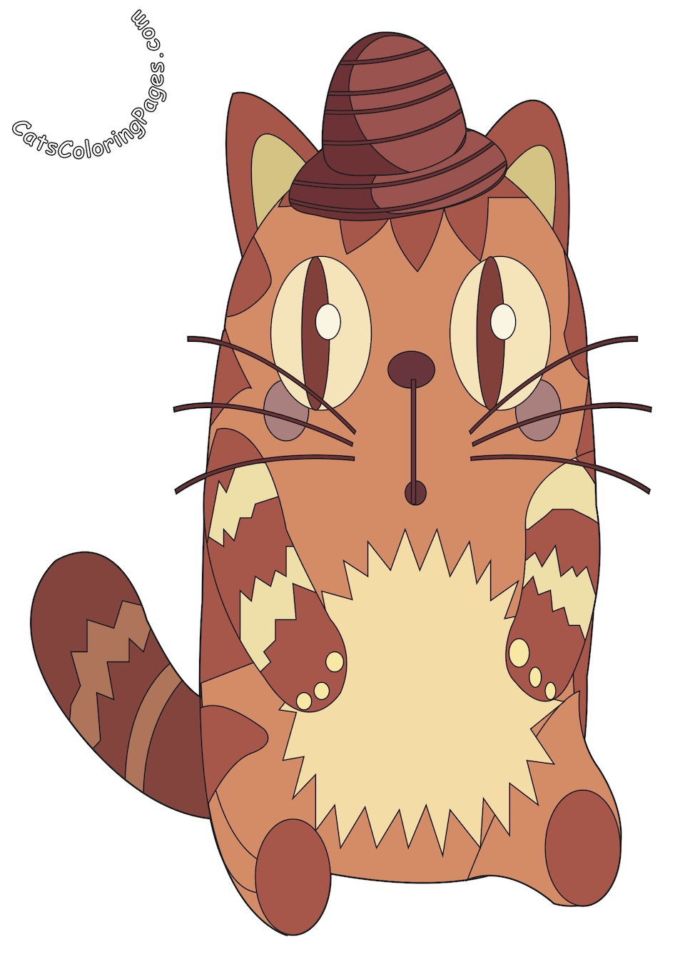 Very Surprised Cat Colored Coloring Page