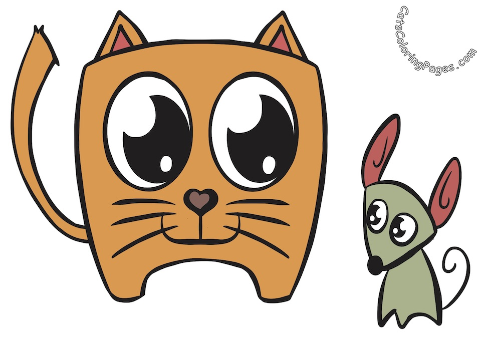 Kitten and Mouse Colored Coloring Page