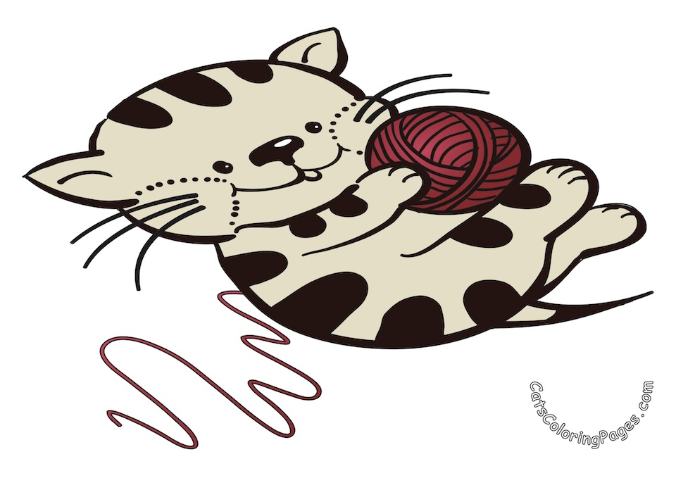 Kitten with Red Wool Ball Colored Coloring Page