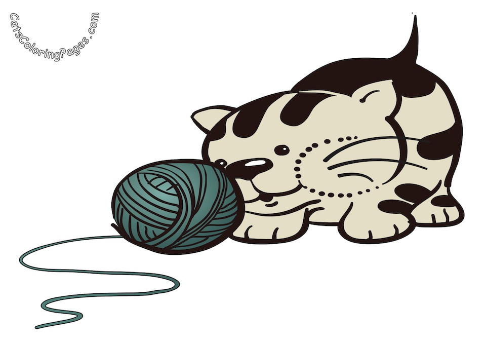 Kitten with Green Wool Ball Colored Coloring Page