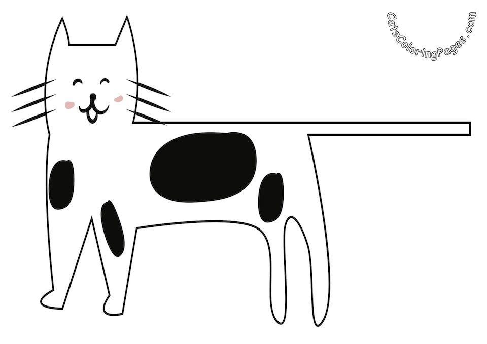 Smiling Spotted Cat Colored Coloring Page