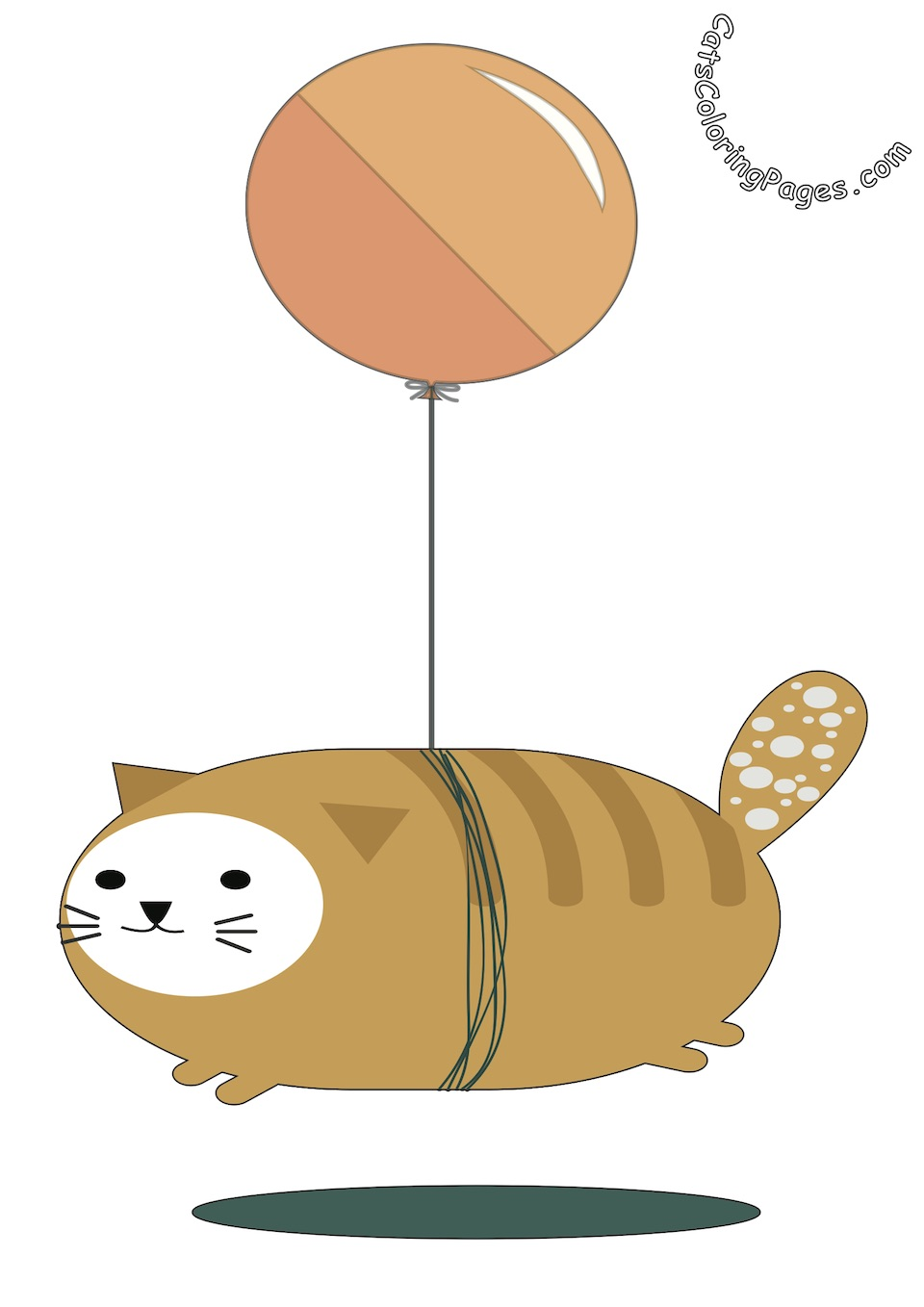 Flying Balloon Cat Colored Coloring Page