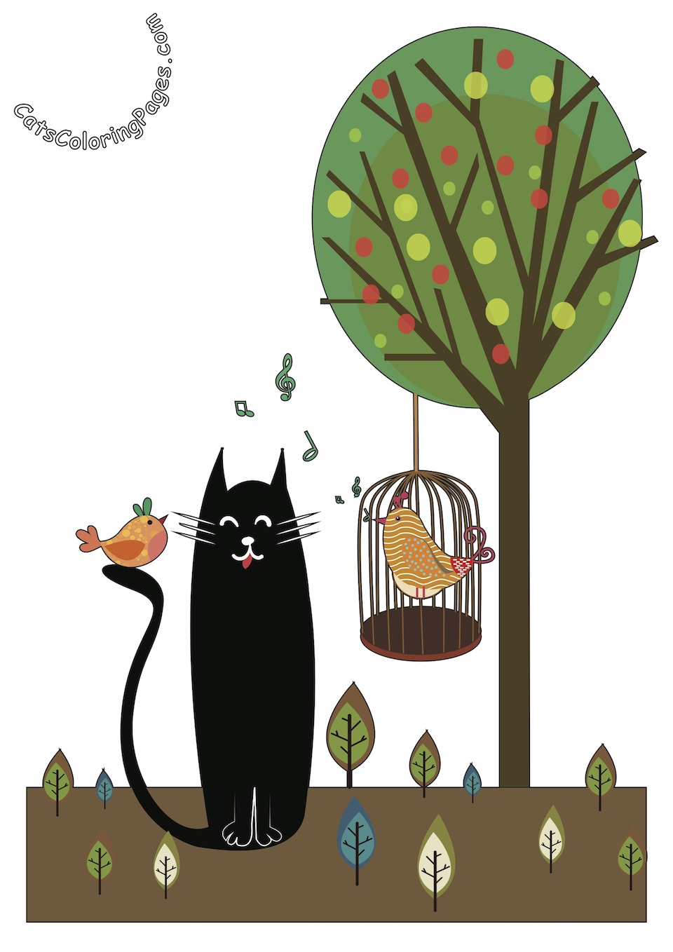Black Cat with Singing Birds Colored Coloring Page