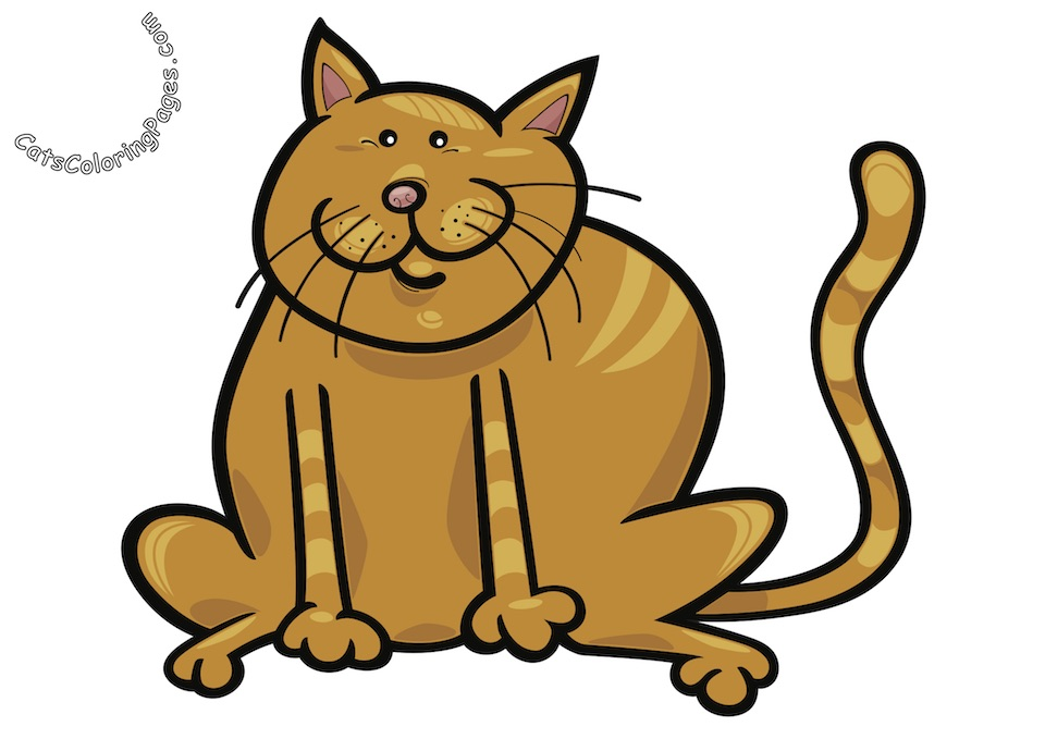 Happy Fat Tomcat Colored Coloring Page