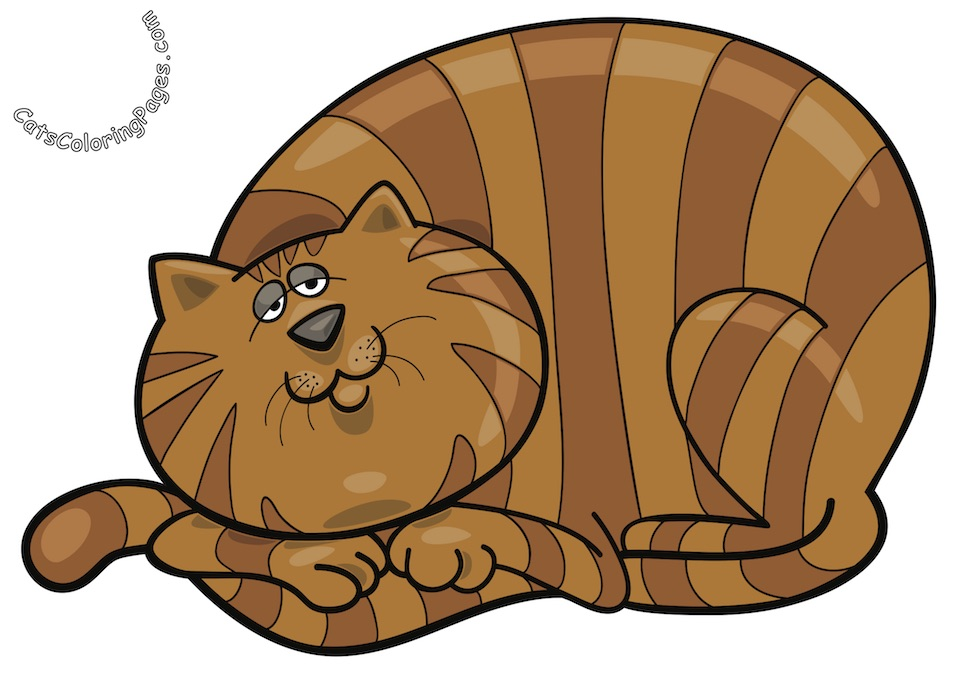 Sleepy Tabby Tomcat Colored Coloring Page