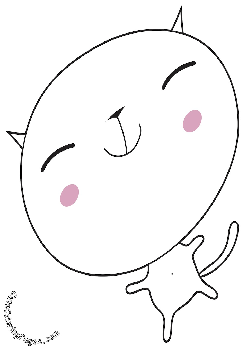 Happy Big Headed Kitten Colored Coloring Page