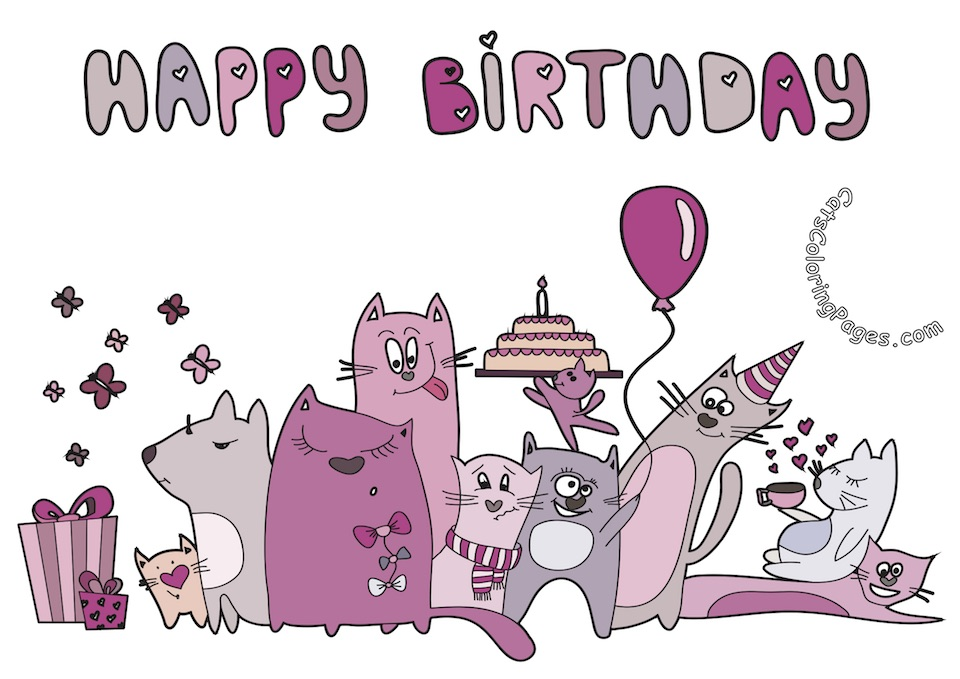 Cat Happy Birthday Card Coloring Page - Cats Coloring Pages