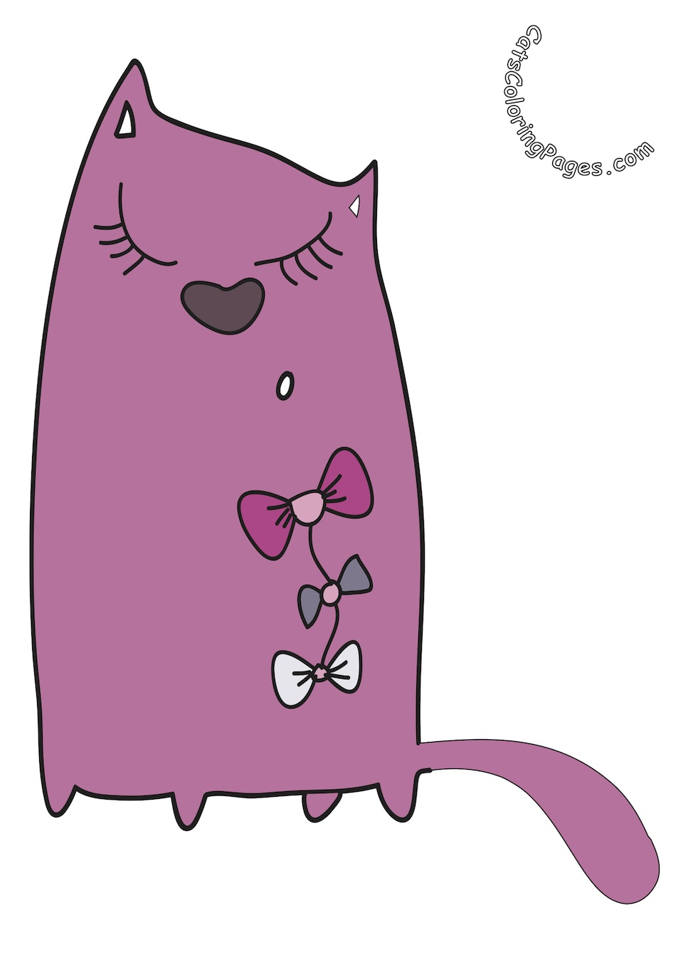 Elegant Pink Cat Colored Coloring Page