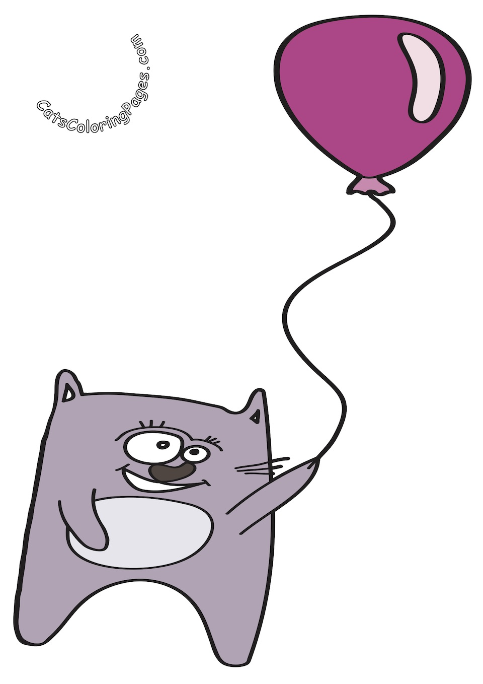 Cat with Balloon Colored Coloring Page