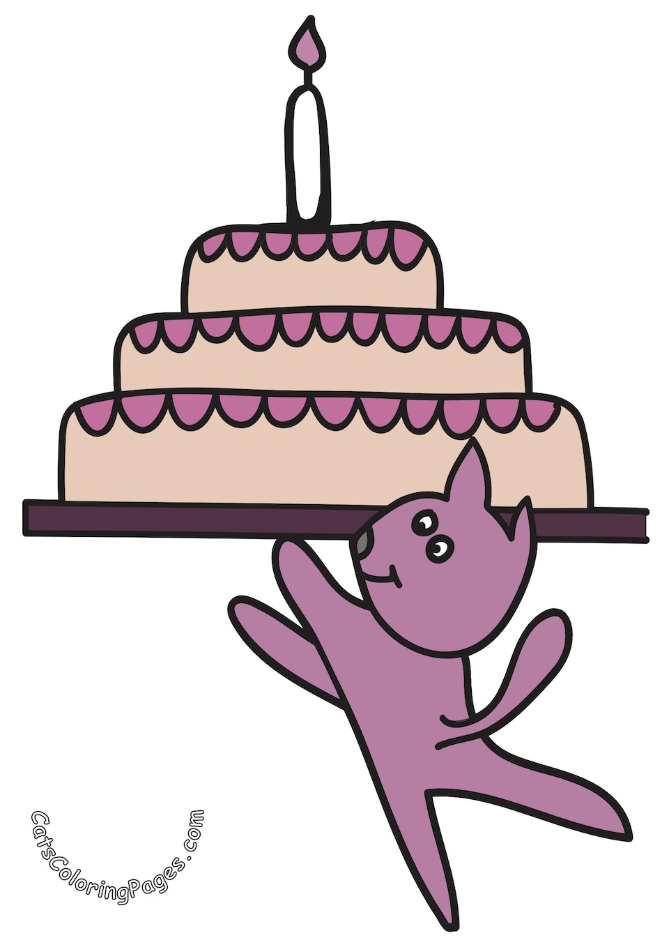 Pleasant Cat With Birthday Cake Coloring Page Cats Coloring Pages Funny Birthday Cards Online Alyptdamsfinfo