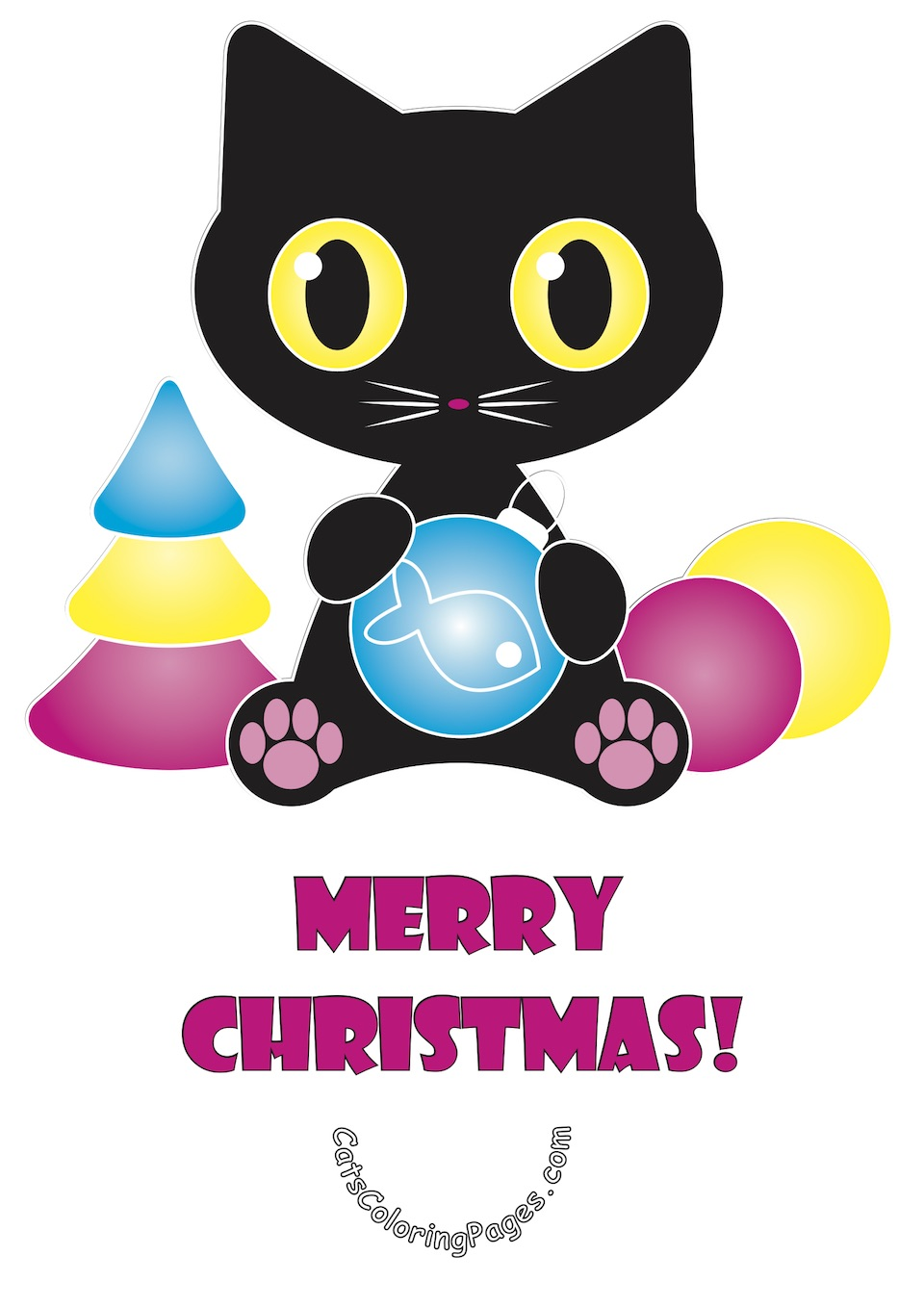 Merry Christmas Cat Card Colored Coloring Page