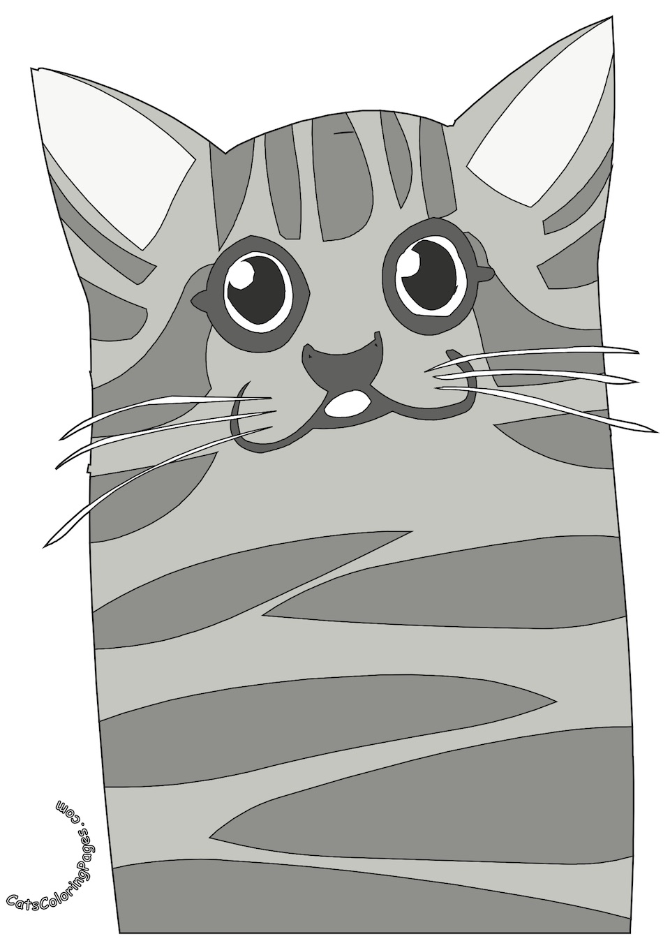 Old Spotted Cat Colored Coloring Page