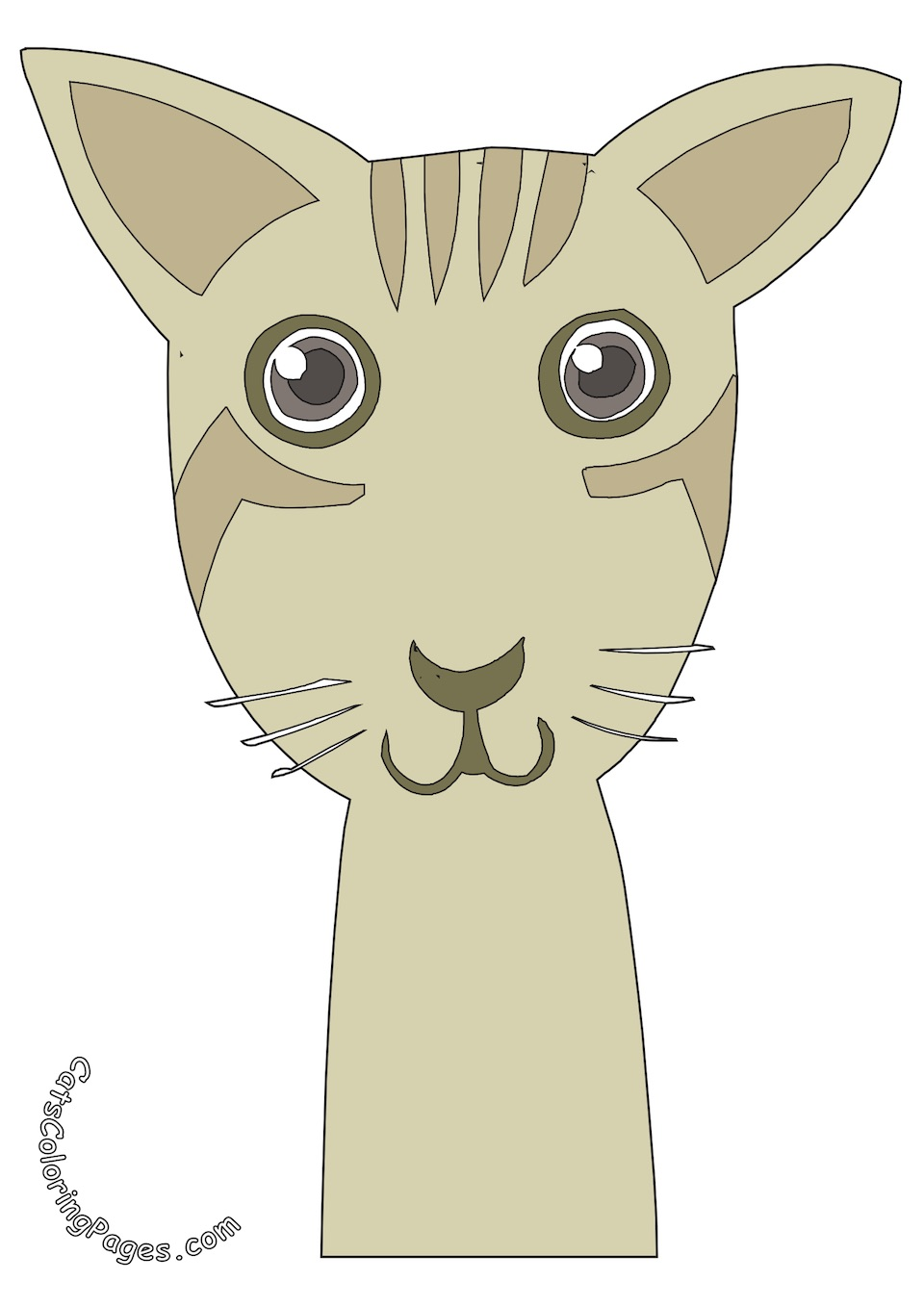 Big Eyed Kitten Tomcat Colored Coloring Page