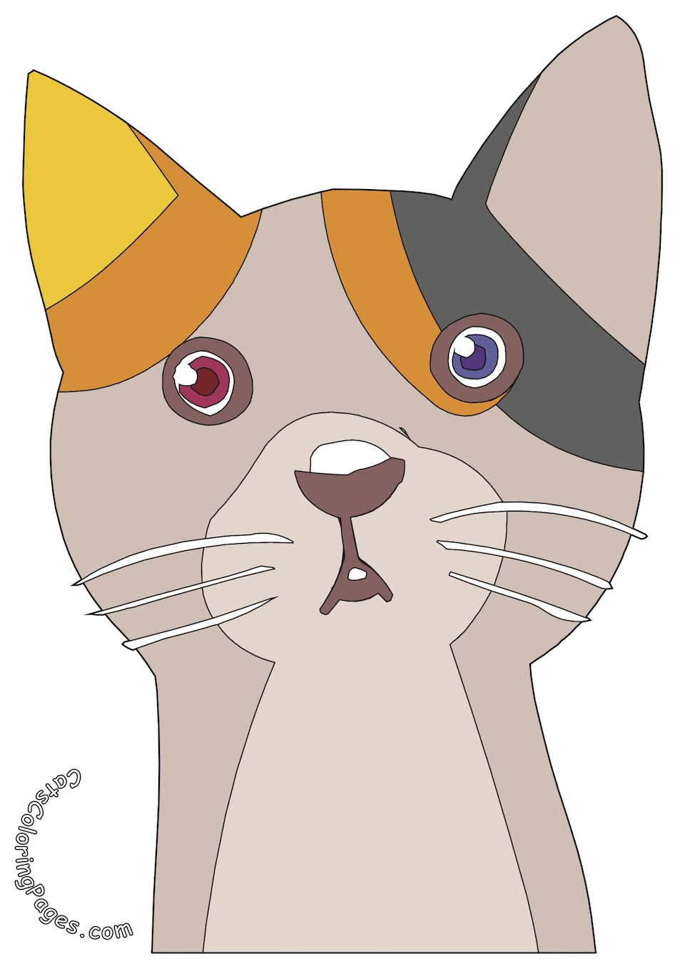Two Colored Eyed Cat Colored Coloring Page