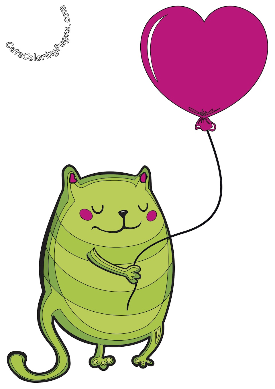 Cat with Pink Balloon Colored Coloring Page