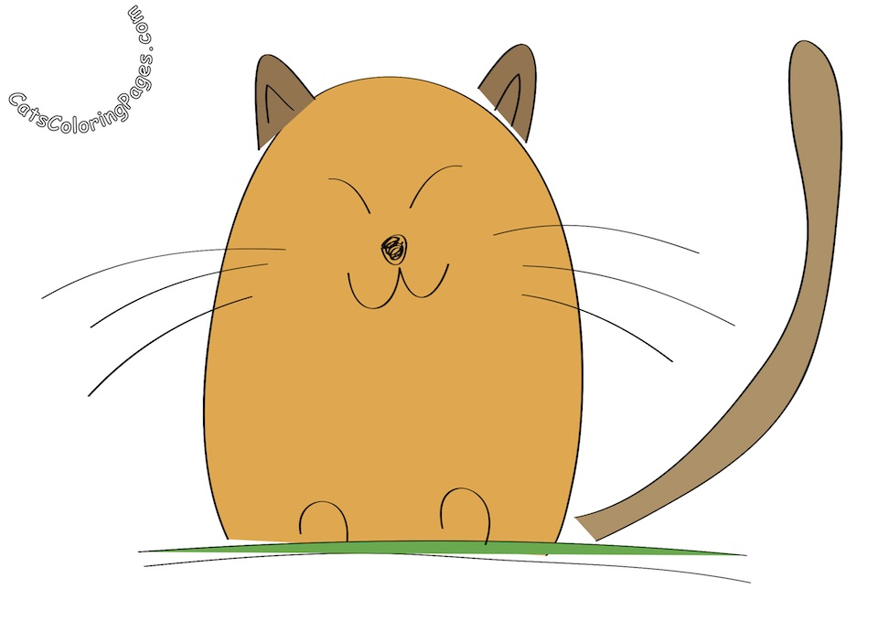 Cute Orange Cat Colored Coloring Page
