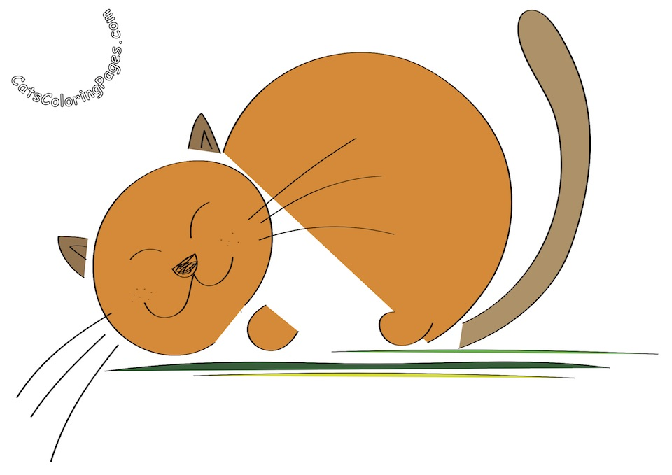 Sleeping Orange Cat Colored Coloring Page