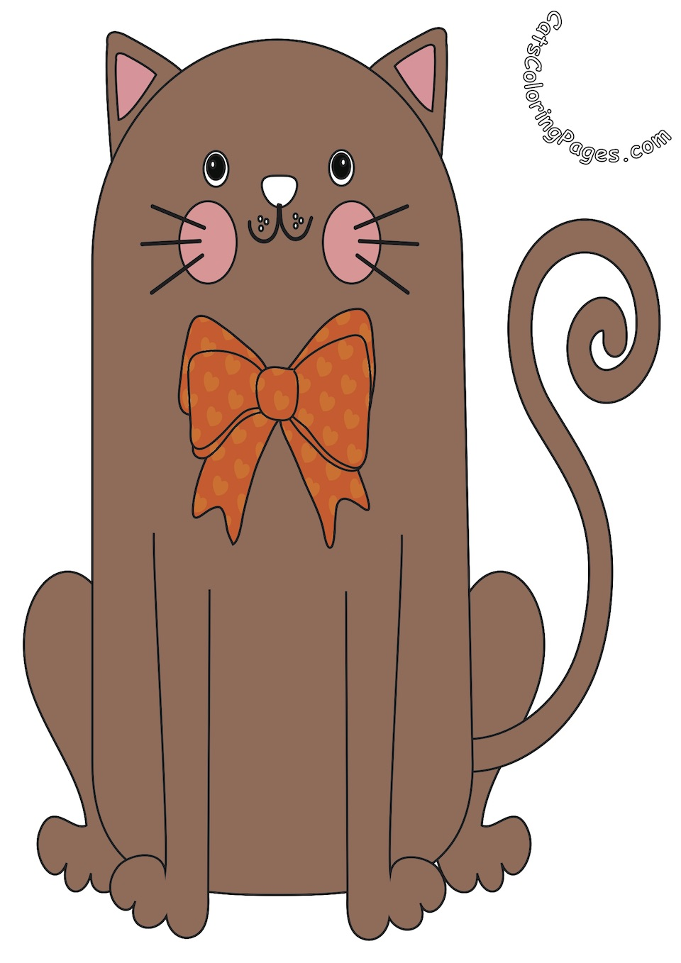 Happy Cat with Bow Tie Colored Coloring Page