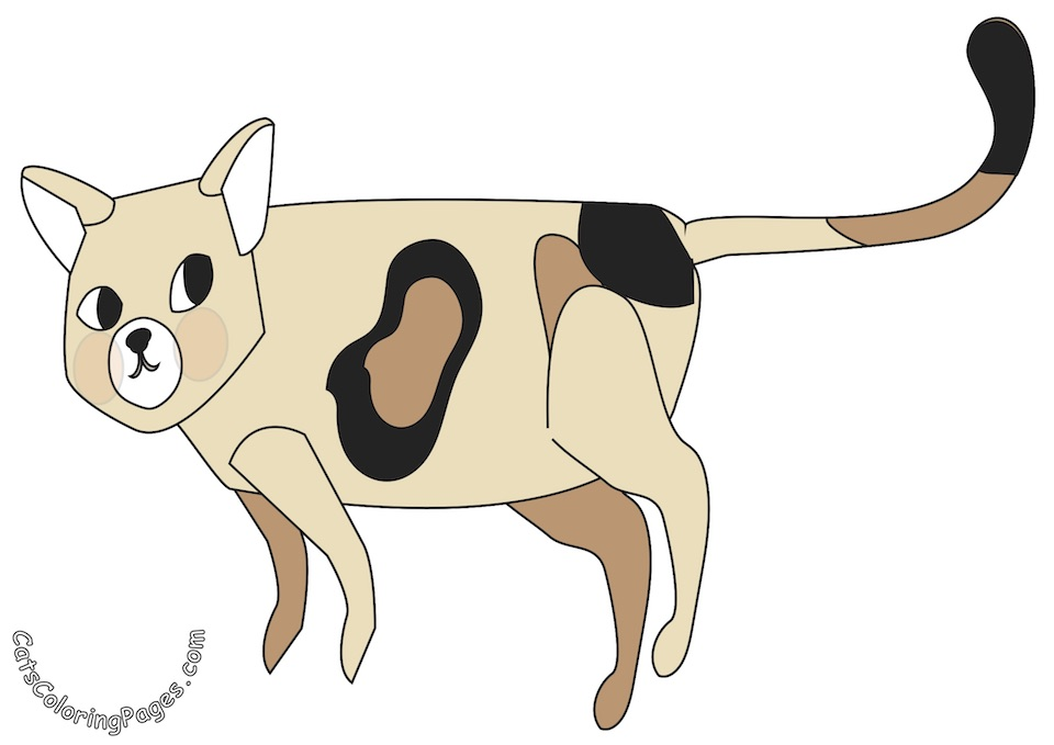 Spotted Cat Searching Colored Coloring Page
