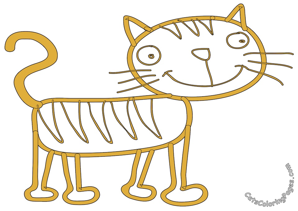 Happy Tiger Cat Colored Coloring Page