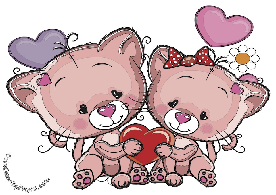 Cute Kittens in Love Colored Coloring Page