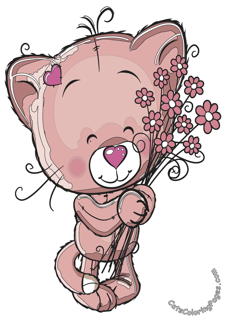 Cute Kitten with Flowers Colored Coloring Page