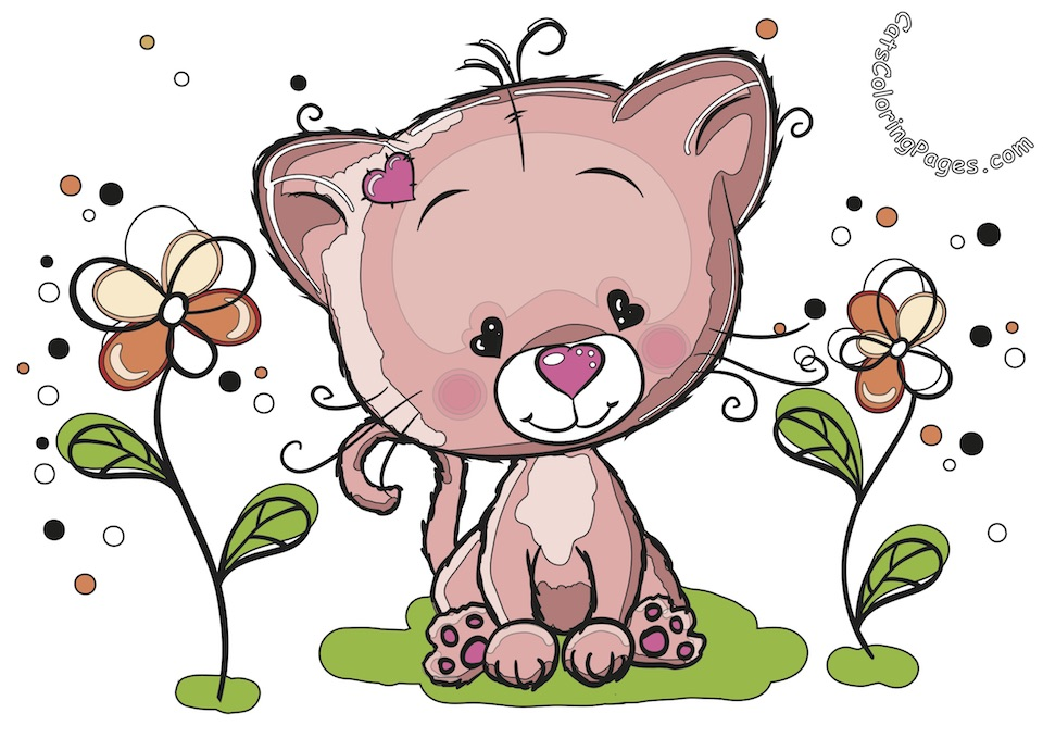 Cute Kitten in The Garden Colored Coloring Page