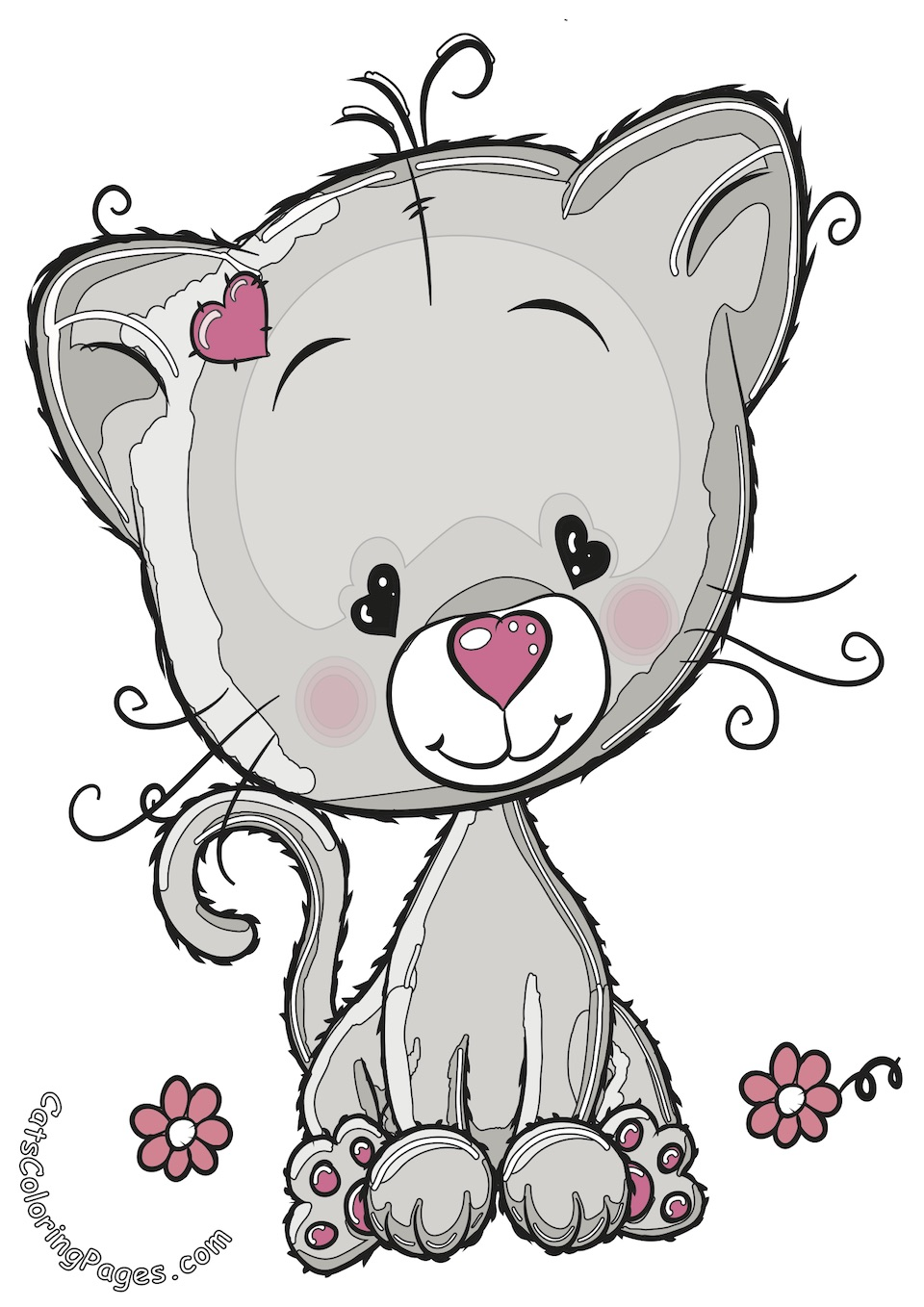 Cute Kitten in Love Colored Coloring Page